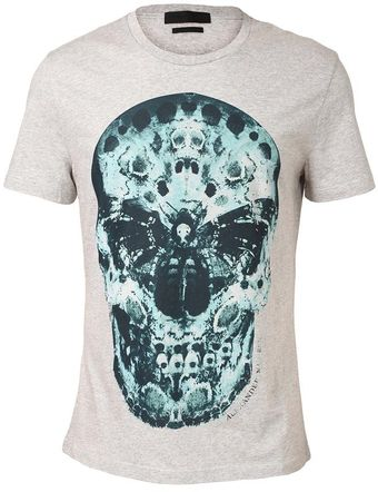 Alexander McQueen Cotton Tshirt with Death Head Moth Skull Motif - Lyst