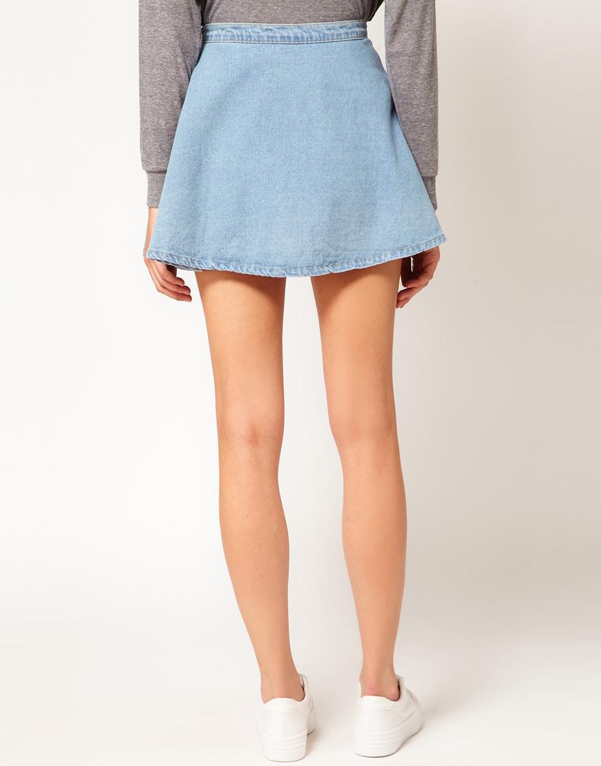 american apparel denim circle skirt in blue lyst