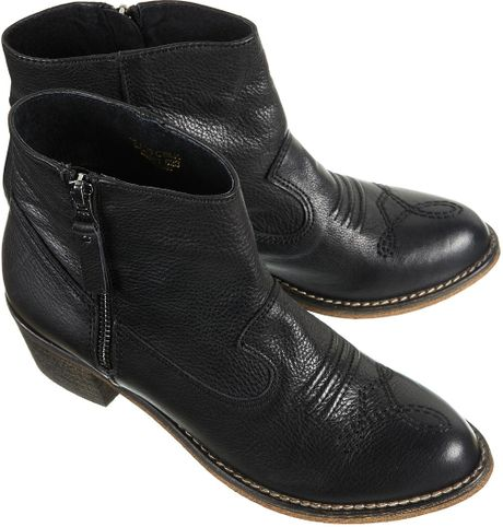topshop artreu western ankle boots in black lyst