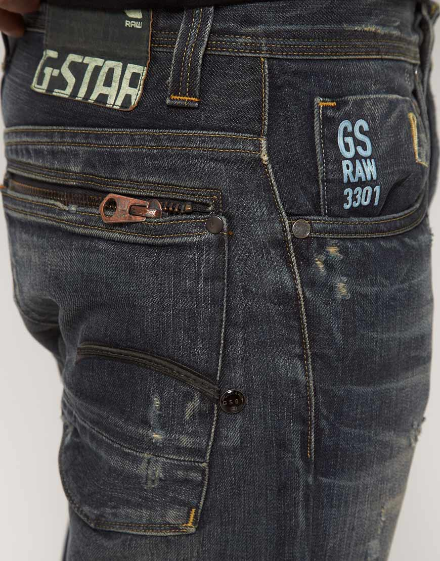 g star raw attacc jeans straight fit in blue for men lyst. Black Bedroom Furniture Sets. Home Design Ideas