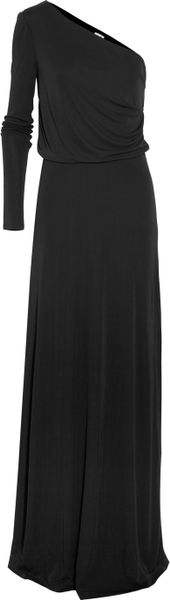 Halston Heritage One Shoulder Jersey Gown in Black