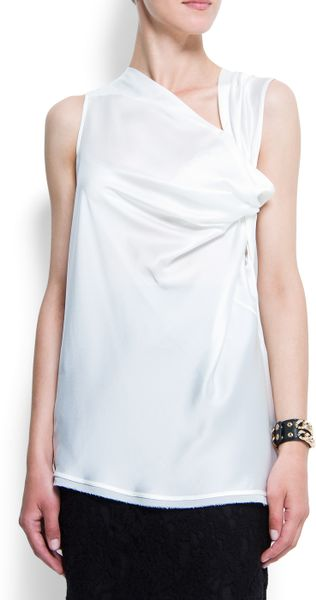 Mango Draped Top in White (ow)