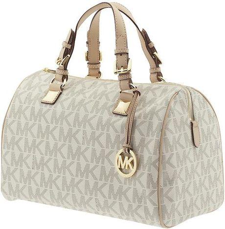 Low Price Michael Kors Grayson Satchels - Bags Michael By Michael Kors Grayson Large Logo Satchel Vanilla