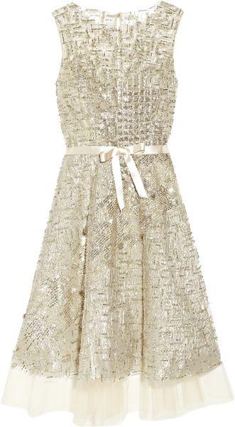 Oscar De La Renta Embellished Tulle Dress in Silver (champagne)
