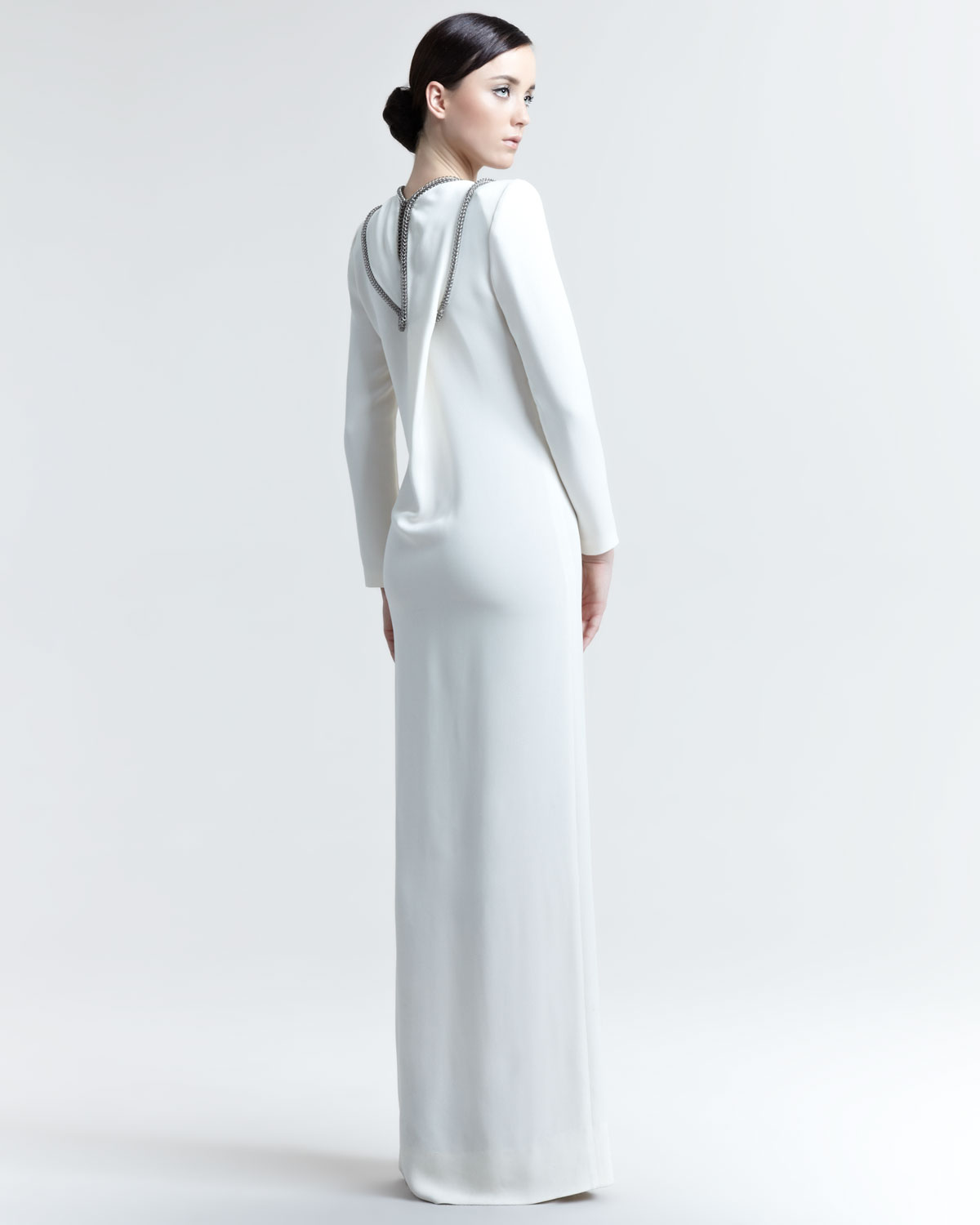 Lyst - Saint Laurent Chaintrimmed Longsleeve Gown in White