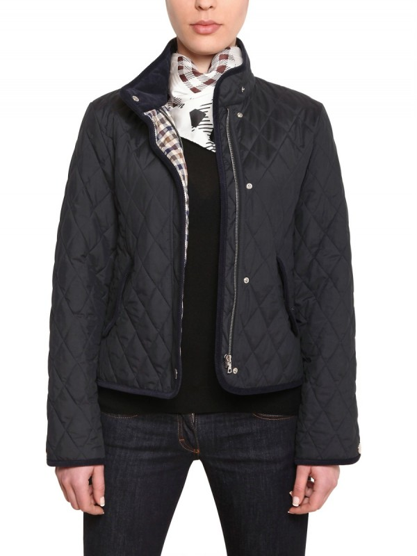 Aquascutum Waxed Quilted Husky Jacket In Navy Black Lyst
