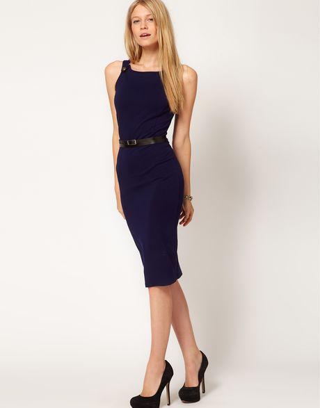 asos pencil dress with wrap belt in blue navy lyst