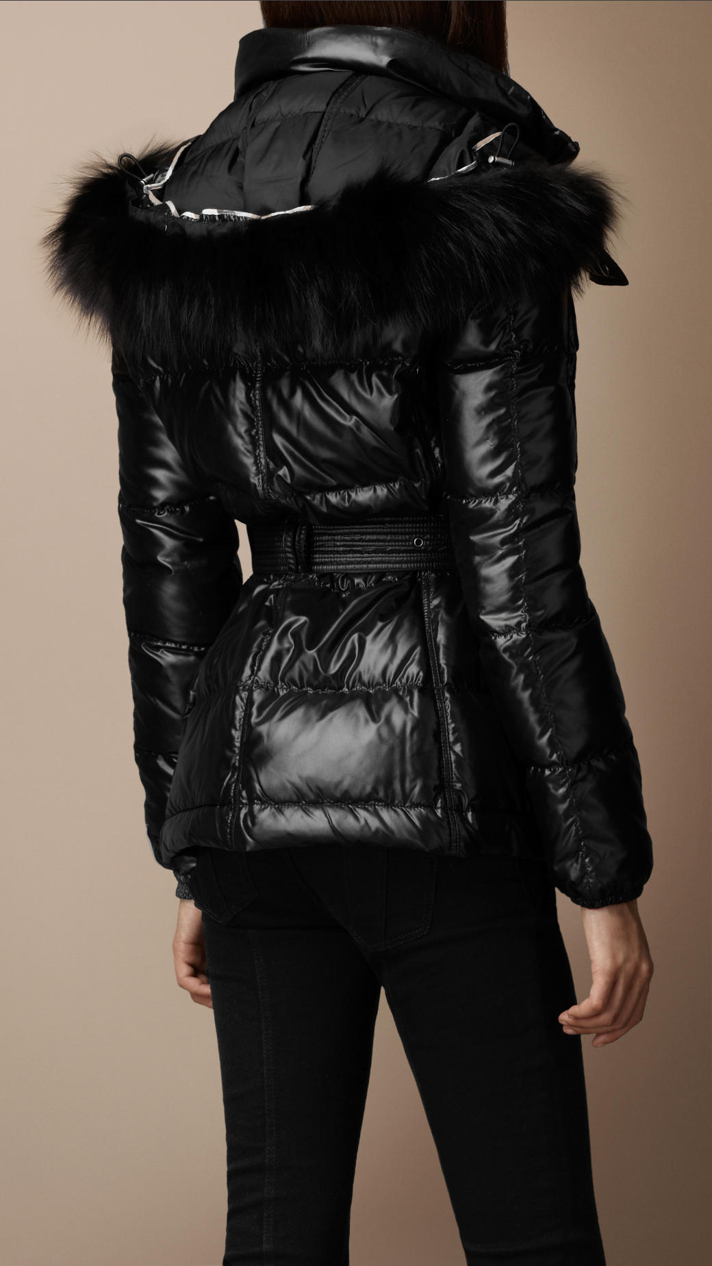 Burberry brit Light Weight Down Filled Fur Trim Jacket in Black | Lyst