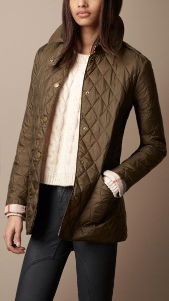 Burberry Brit Diamond Quilted Jacket In Khaki Caper Lyst