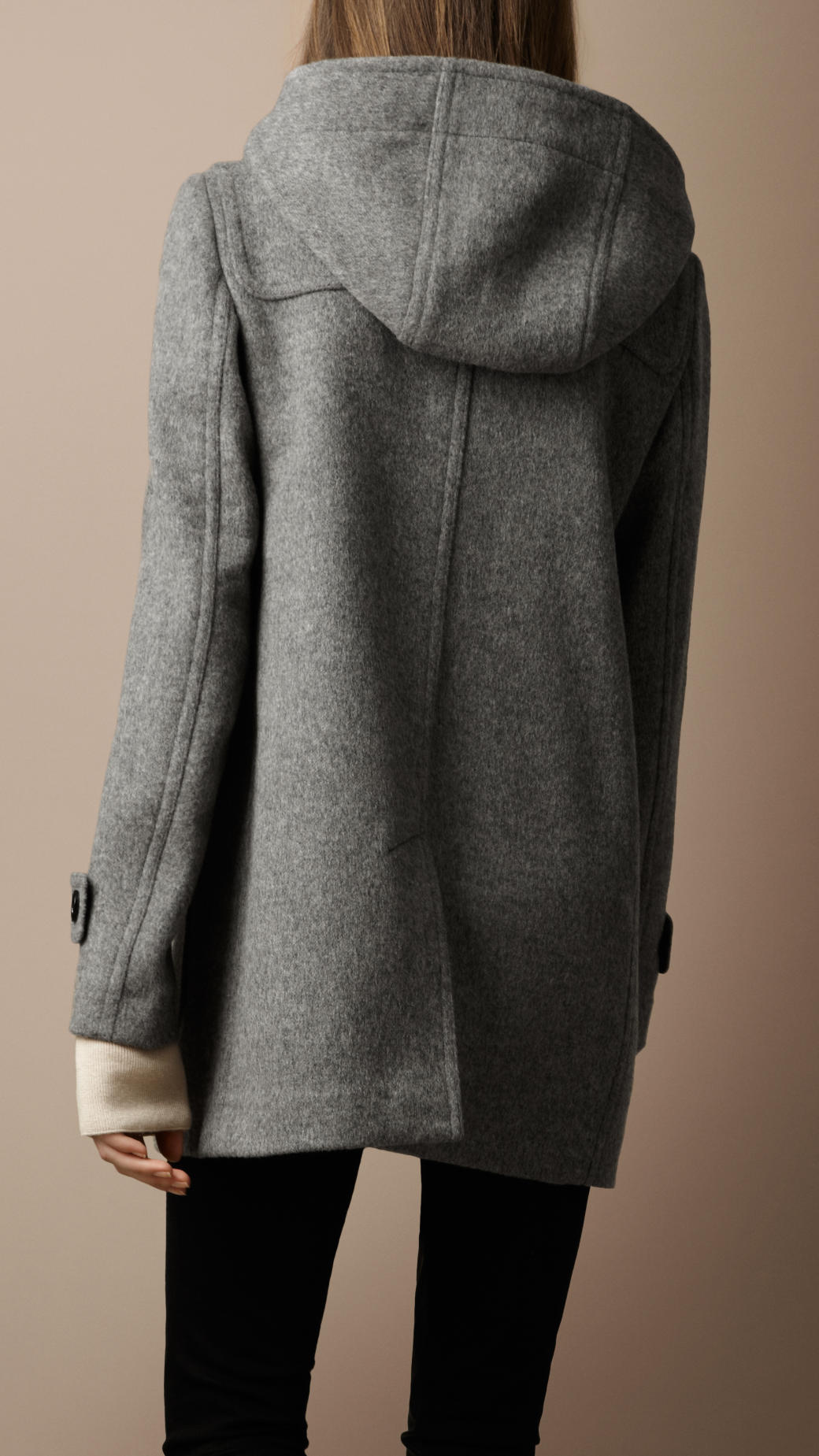 Womens Grey Duffle Coat Coat Racks