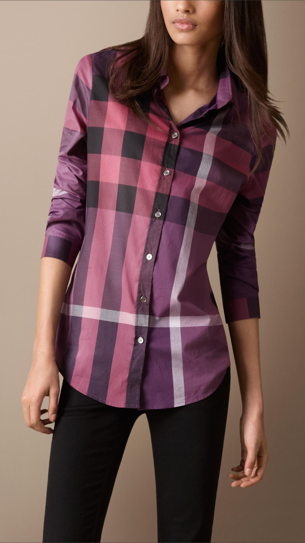 Burberry brit check cotton shirt in purple lyst for Burberry brit checked shirt