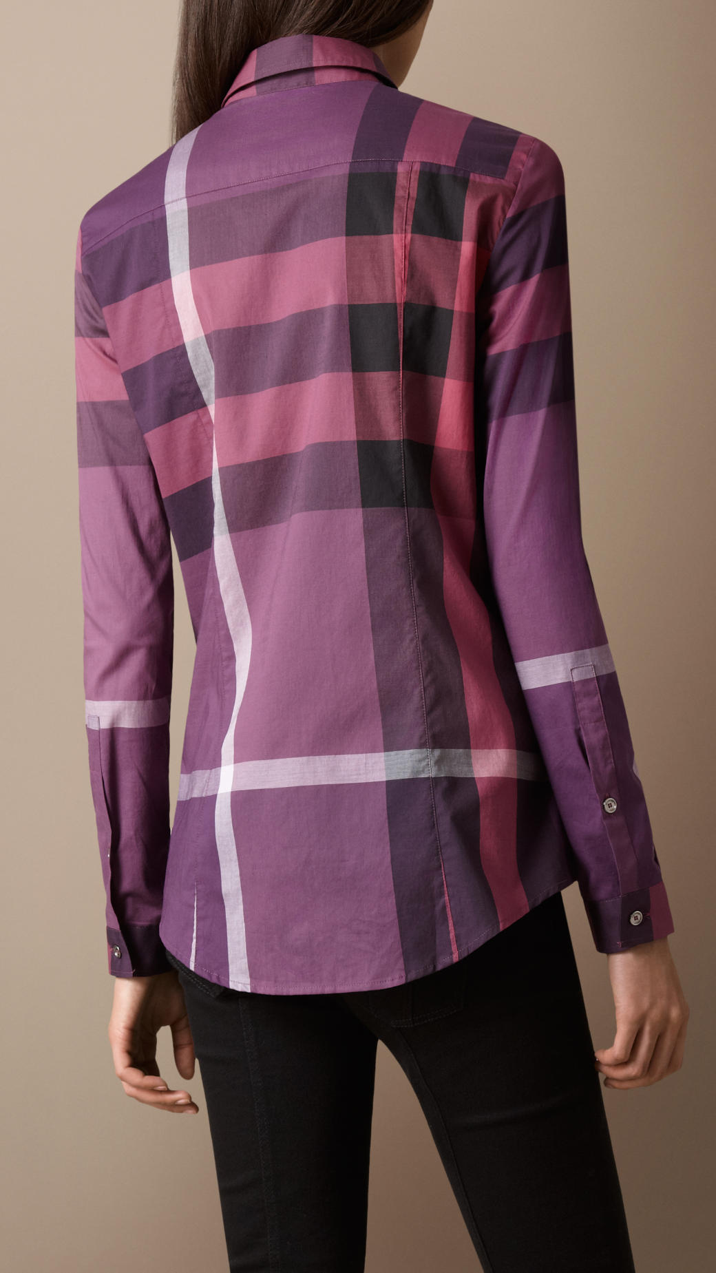 Burberry brit check cotton shirt in purple lyst for Where are burberry shirts made