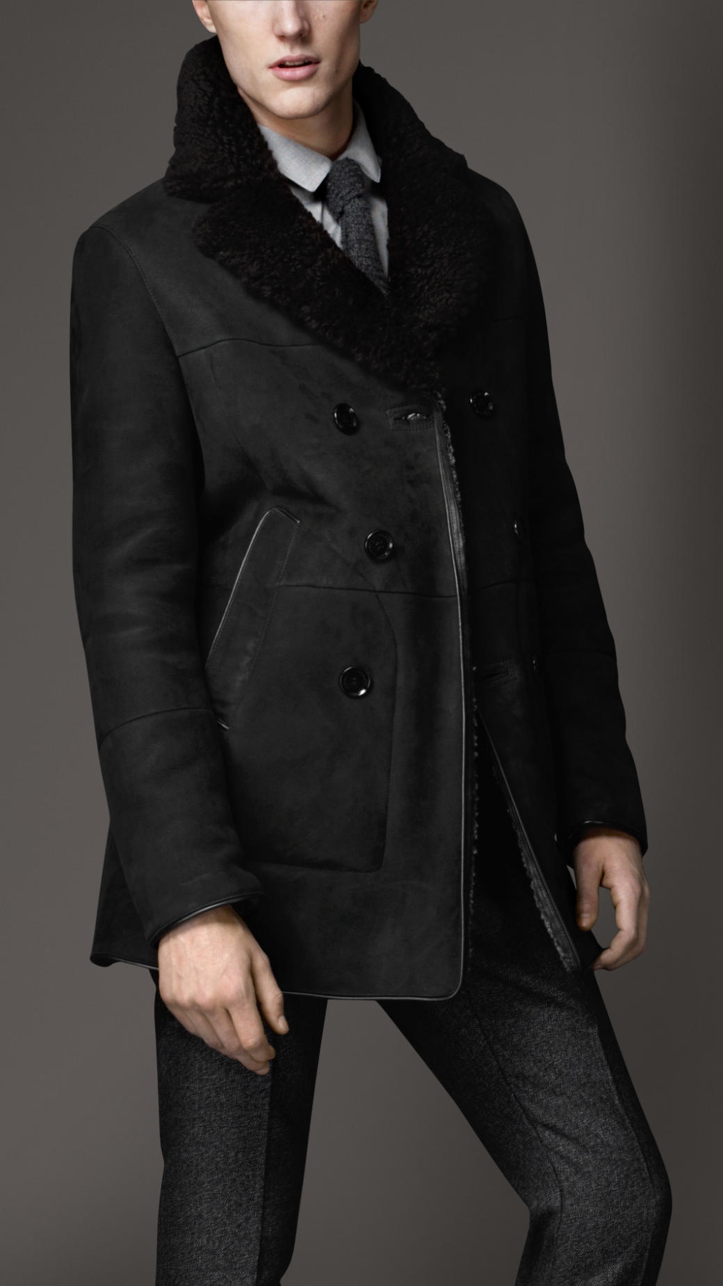 Lyst Burberry Double Breasted Shearling Coat In Gray For Men