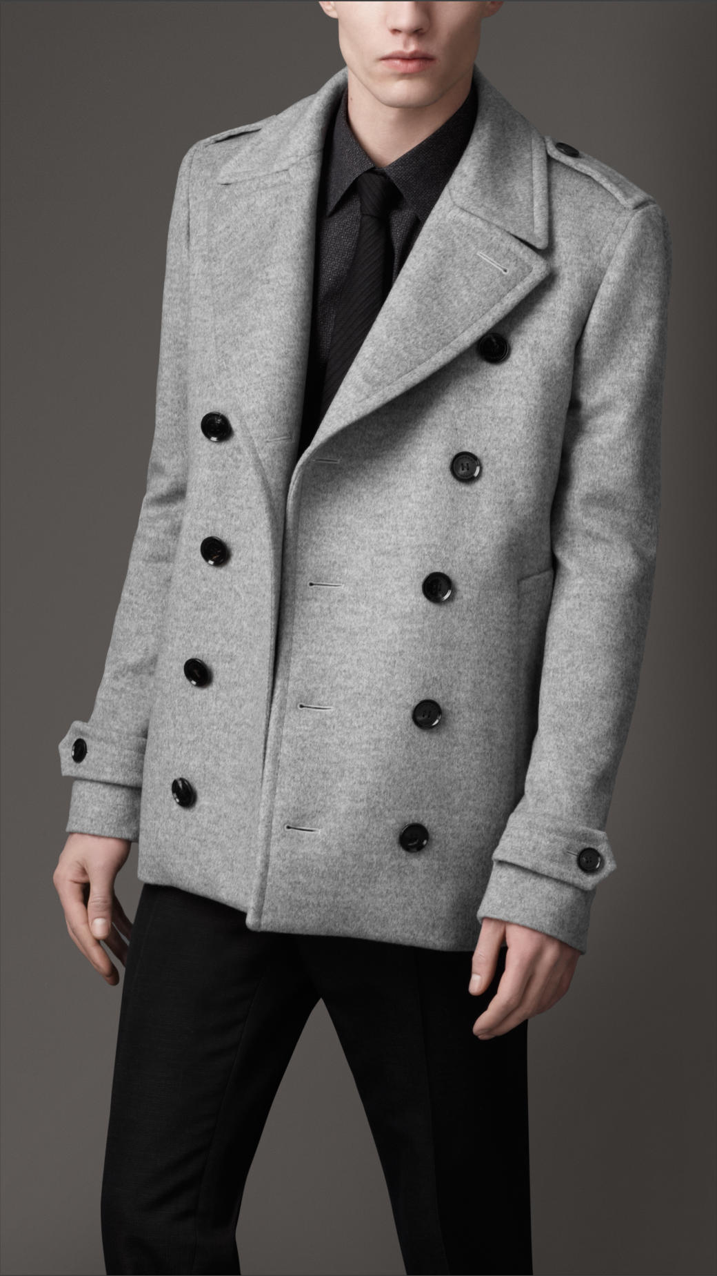 Burberry Wool Cashmere Cropped Pea Coat in Gray for Men | Lyst