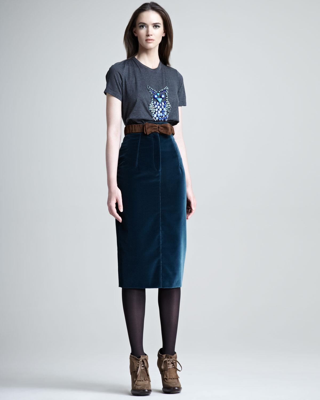 burberry prorsum velvet pencil skirt in blue lyst