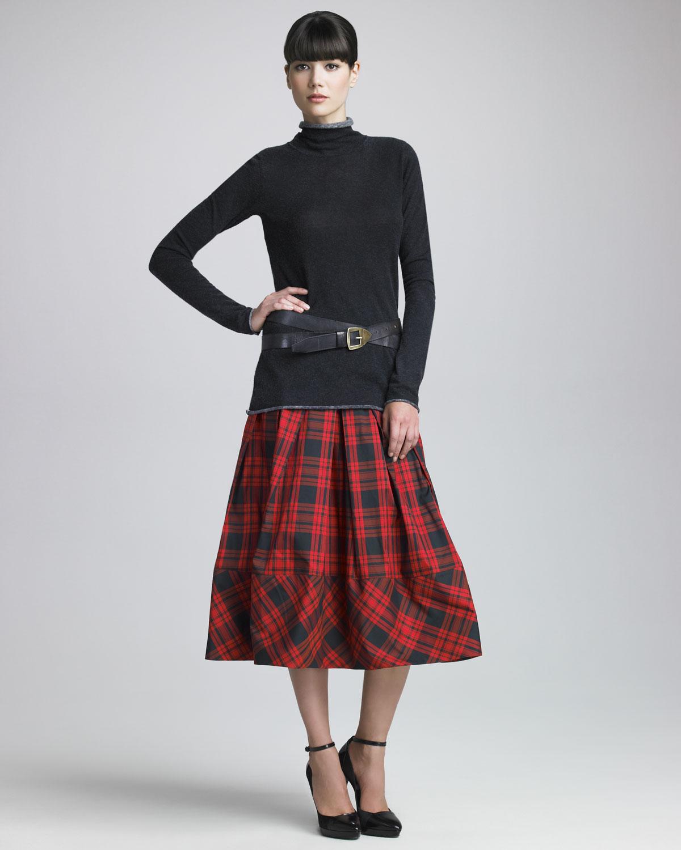 Plaid Taffeta Skirt - Skirts