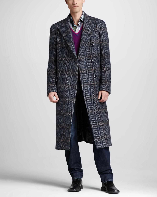 Etro Herringbone Double-breasted Car Coat in Black for Men | Lyst