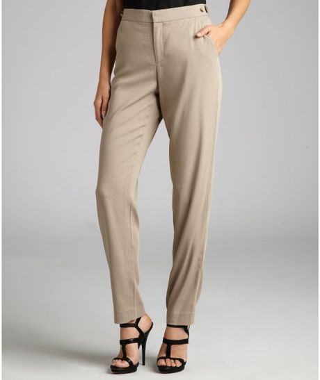 Helmut Lang Khaki Stretch Woven Cropped Trousers in Khaki