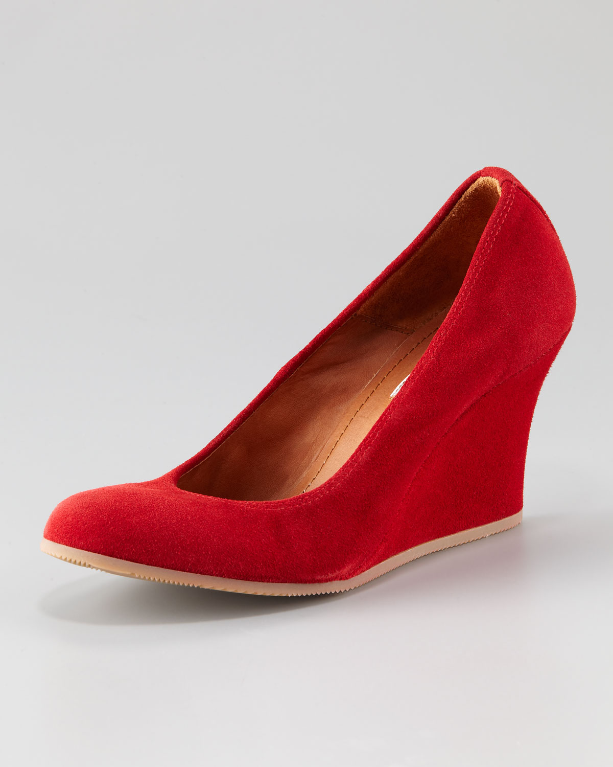 lanvin suede wedge with rubber sole in lyst