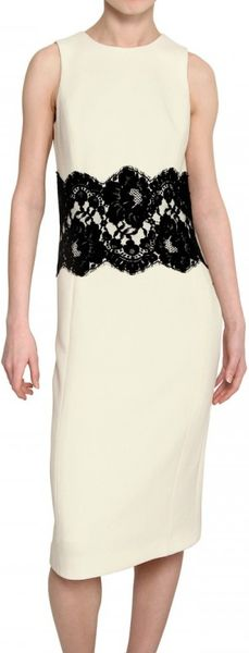 Michael Kors Lace and Wool Cady Dress in Beige (ivory)