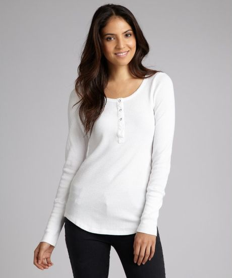 Splendid white cotton blend thermal long sleeve henley in for Women s cotton henley shirts