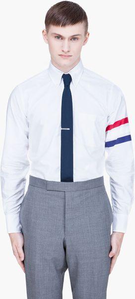 Thom browne white striped oxford shirt in white for men lyst for Thom browne white shirt