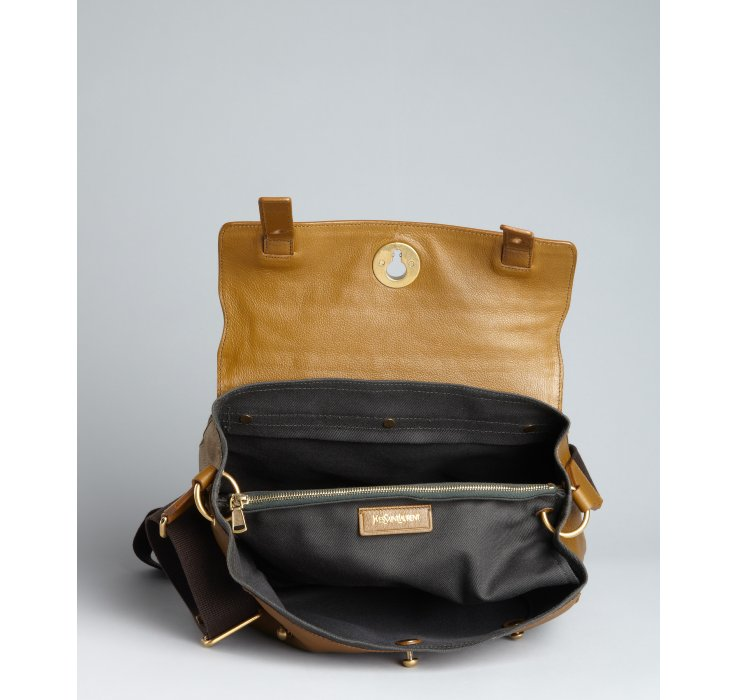 Saint laurent Havana Calfskin Muse Two Flap Messenger Bag in Brown ...