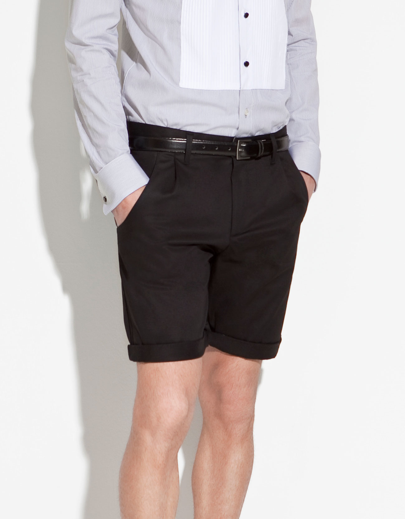 Zara Pleated Bermuda Shorts in Black for Men | Lyst