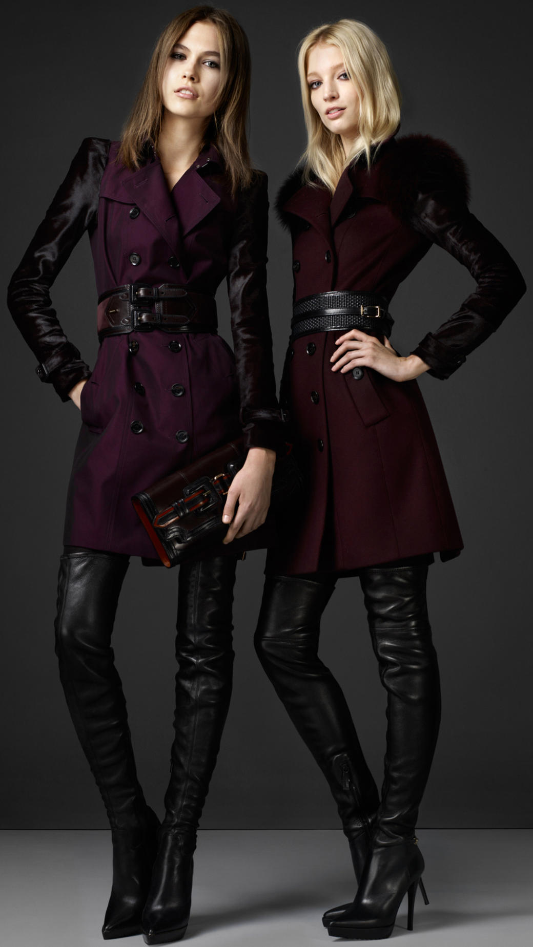 Burberry Mid-Length Fur Detail Wool Cashmere Trench Coat in Purple