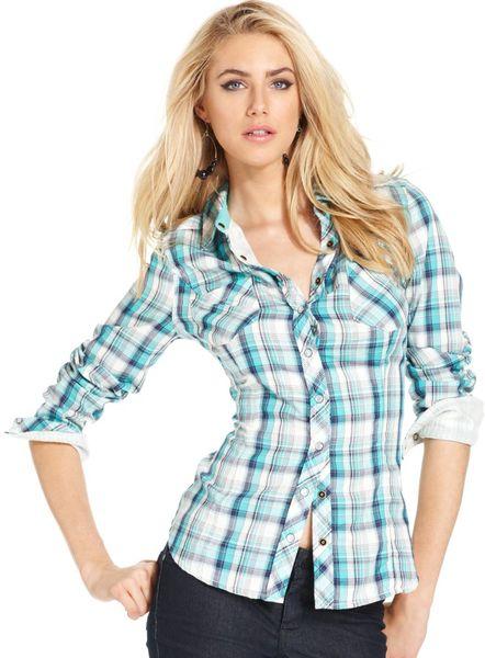 Guess Adison Longsleeve Plaid Shirt In Blue Lyst