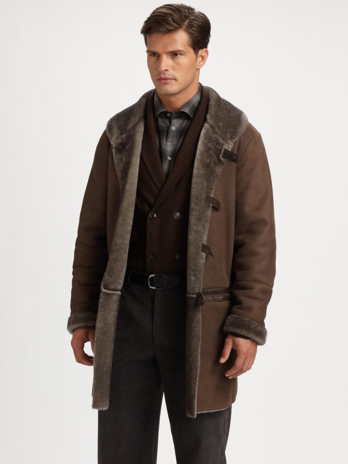 Armani Long Shearling Coat in Brown for Men | Lyst