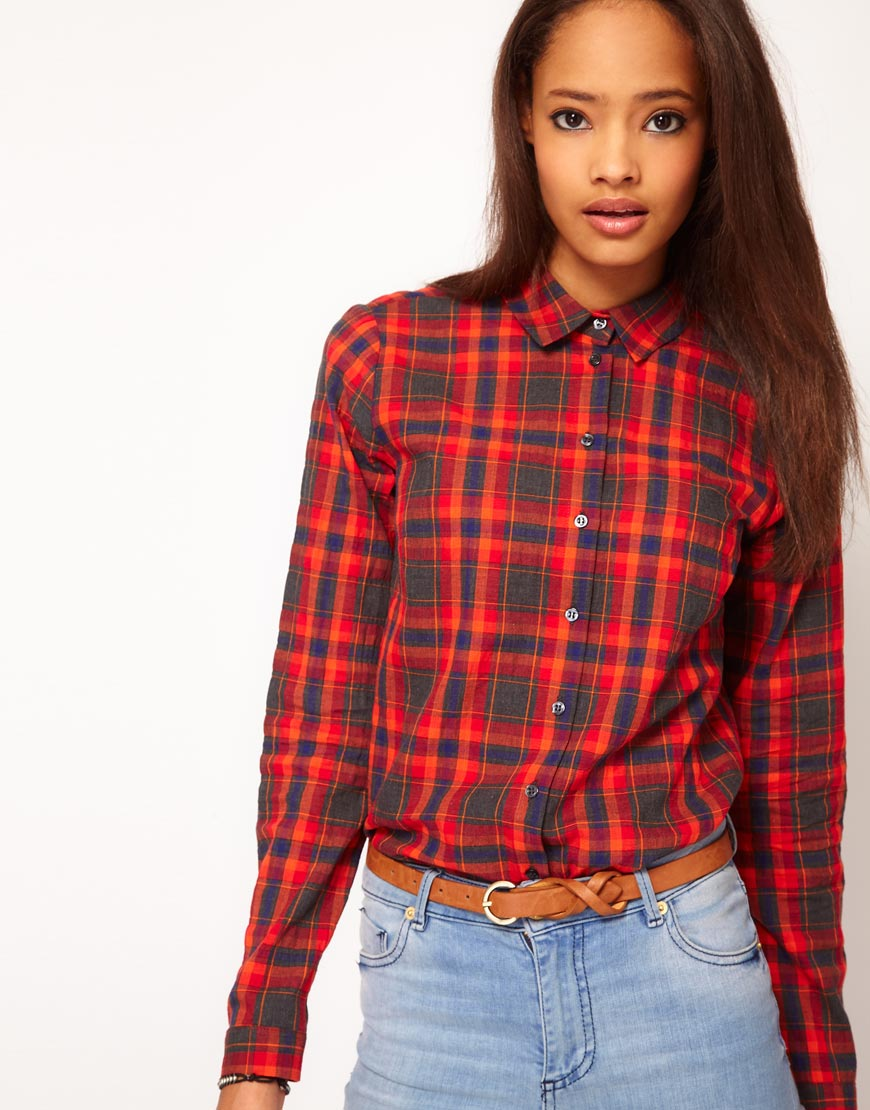 Asos Collection Asos Peplum Top In Sequin In Natural: ASOS Collection Asos Shirt With Check Print In Red