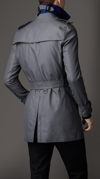 Burberry Midlength Cotton Gabardine Trench Coat In Gray