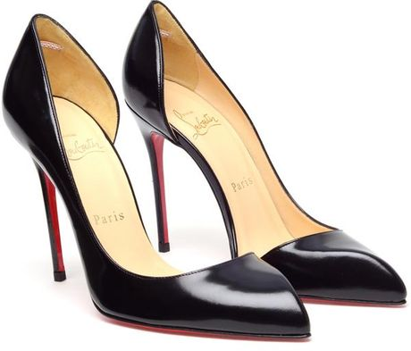 Christian Louboutin Chiarana Cutout Glossed Leather Pumps in Black - Lyst
