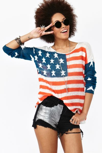 Nasty Gal Born in The Usa Knit in Blue