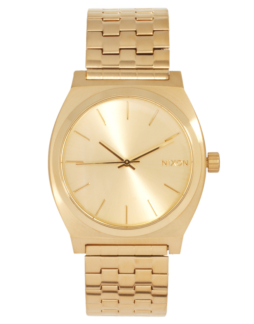 Nixon gold stainless steel watch in gold lyst for Stainless steel watch