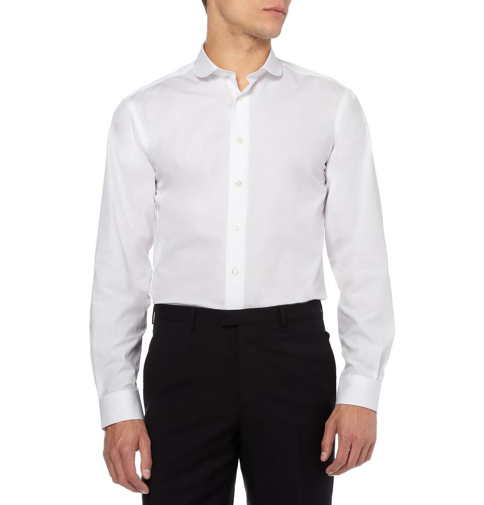 Lyst spencer hart round collar cotton shirt in white for men for Round collar shirt men