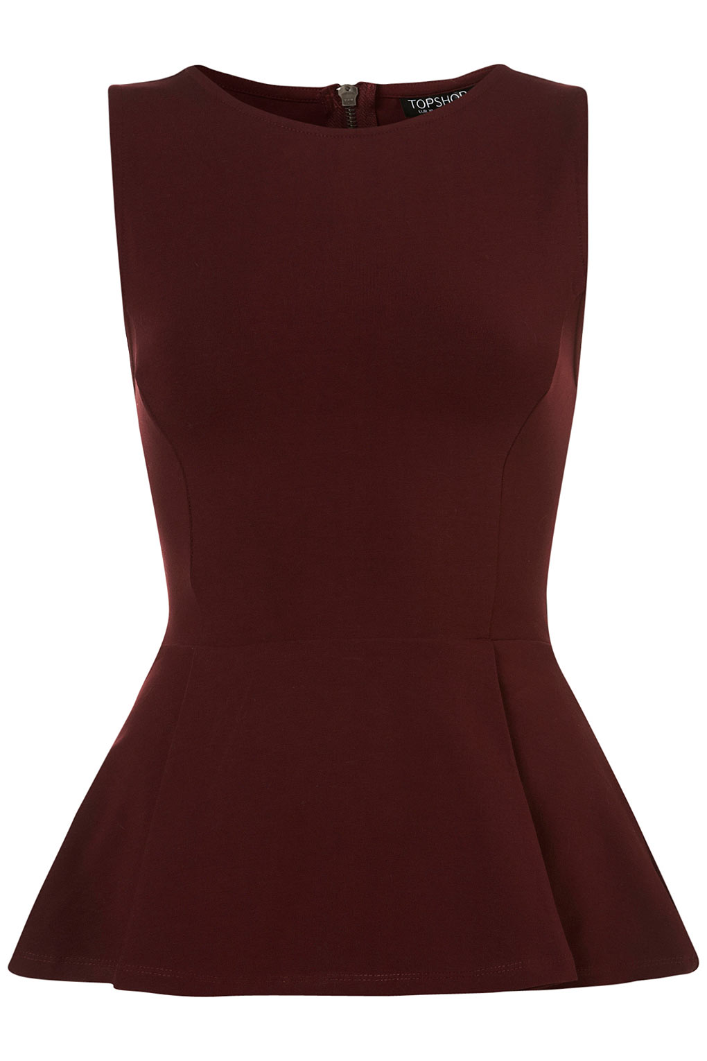 The Lulus Kimball Burgundy Sleeveless Peplum Top will take you from an average workday to a fun day of play! Soft, stretch knit shapes a V-neckline and sleeveless 4/5(3).