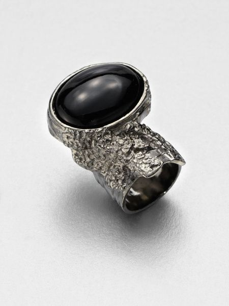 Saint Laurent Antique-Inspired Silvertone Arty Ovale Ring in Black