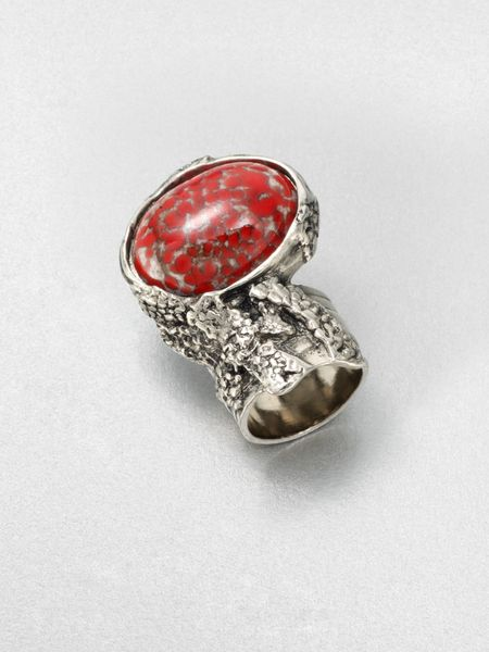 Yves Saint Laurent AntiqueInspired Silvertone Arty Ovale Ring in Silver (crimson) - Lyst