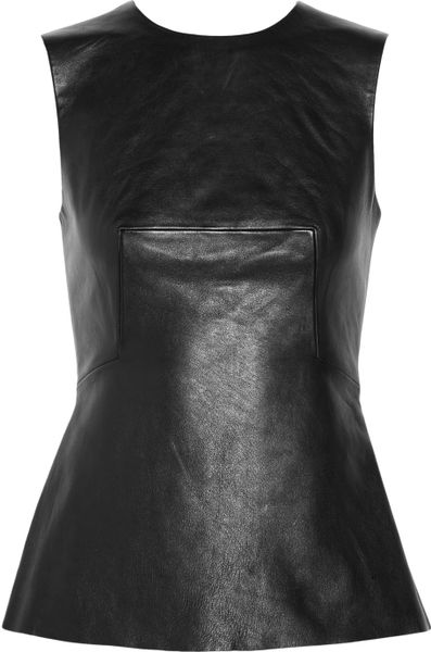 Alexander Wang Pleated Leather Top in Black