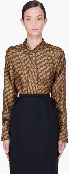 Chloé Bronze Silk Bird Print Blouse in Brown (bronze) - Lyst