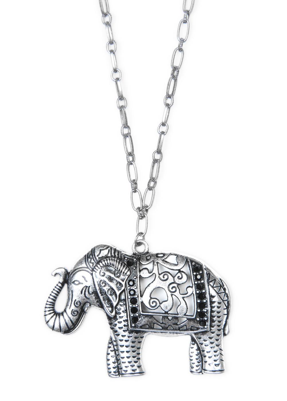 mango elephant pendant necklace in silver 93 lyst
