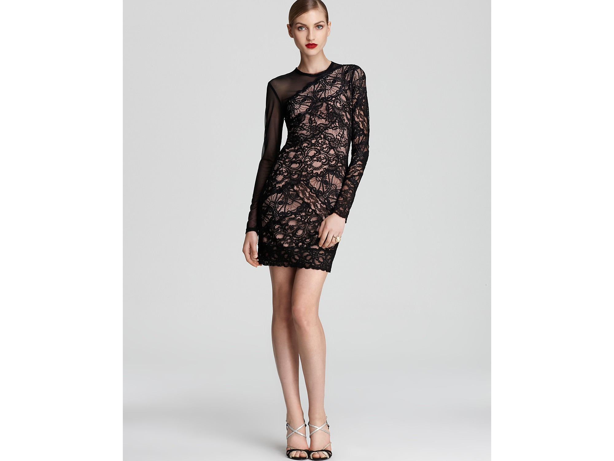 Nicole miller Lace Dress Long Sleeve Mesh in Black | Lyst