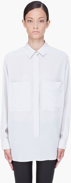 See By Chloé Grey Silk Double Pocket Blouse in White (grey)