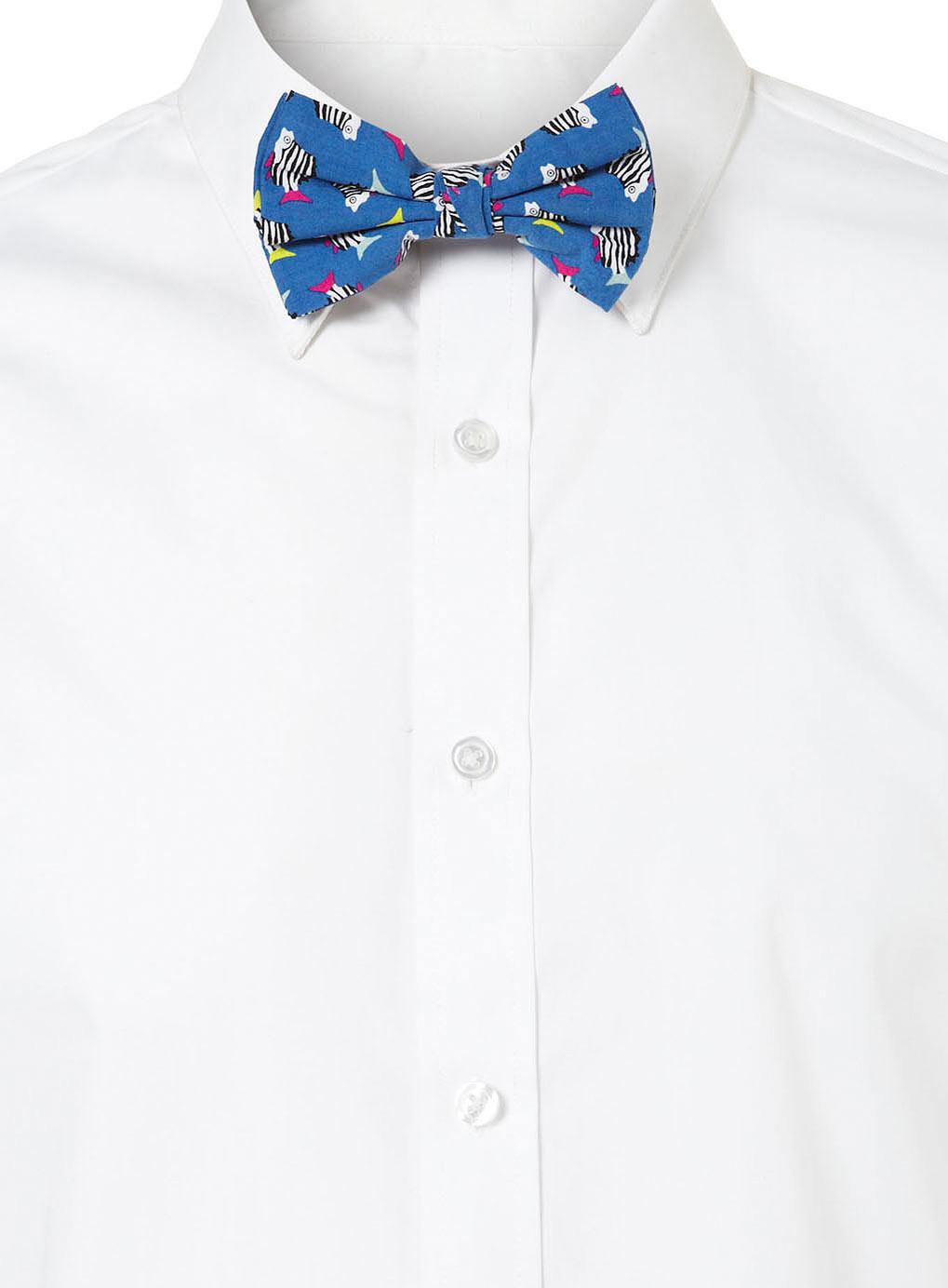 Topman Blue Zebra Fish Print Bow Tie In Blue For Men