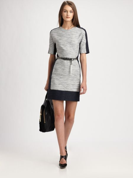 3.1 Phillip Lim Trompe Loeil Belted Dress in Gray (white) - Lyst