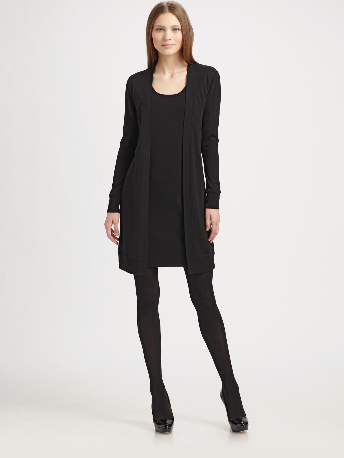 Akris punto Wool Trompe Loeil Cardigan Dress in Black | Lyst