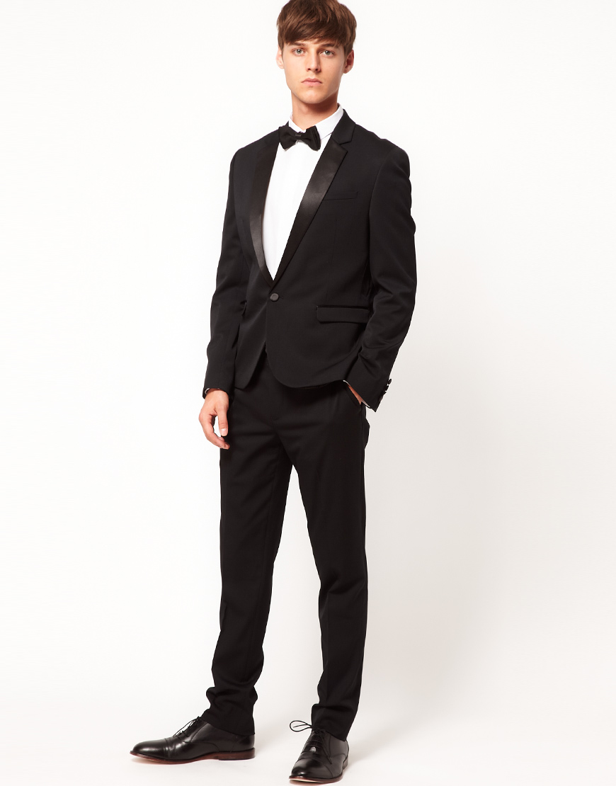 Asos Asos Skinny Fit Tuxedo Suit Jacket in Black in Black for Men ...