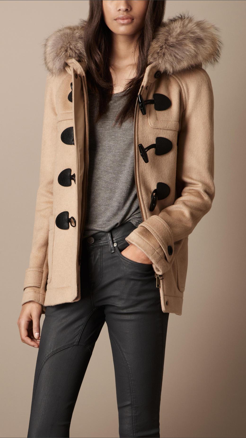 burberry brit fur trim hooded duffle coat in natural lyst. Black Bedroom Furniture Sets. Home Design Ideas